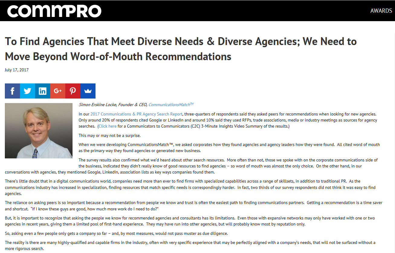 Find Diverse Agencies