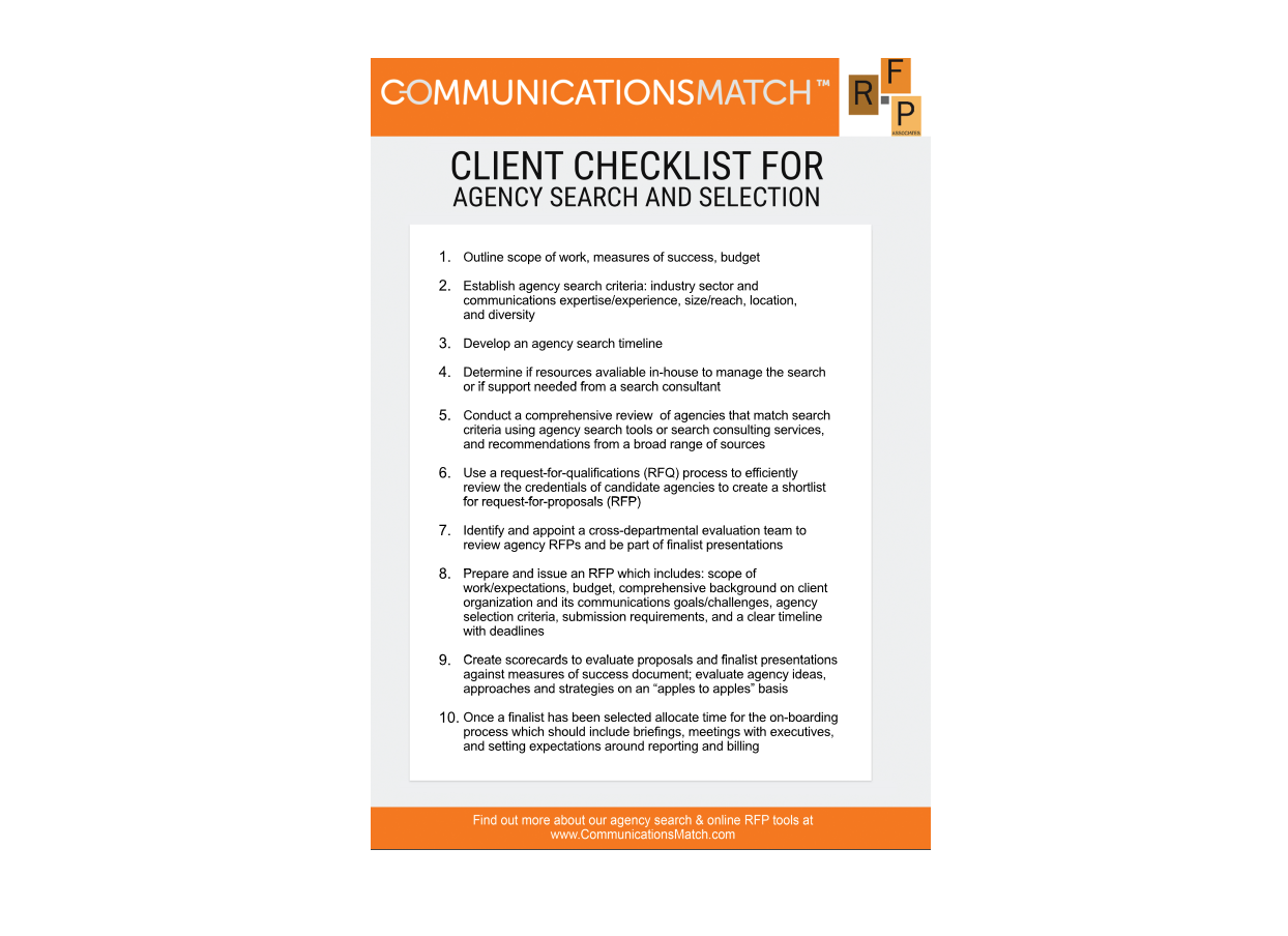 PR Agency Search Process Checklist