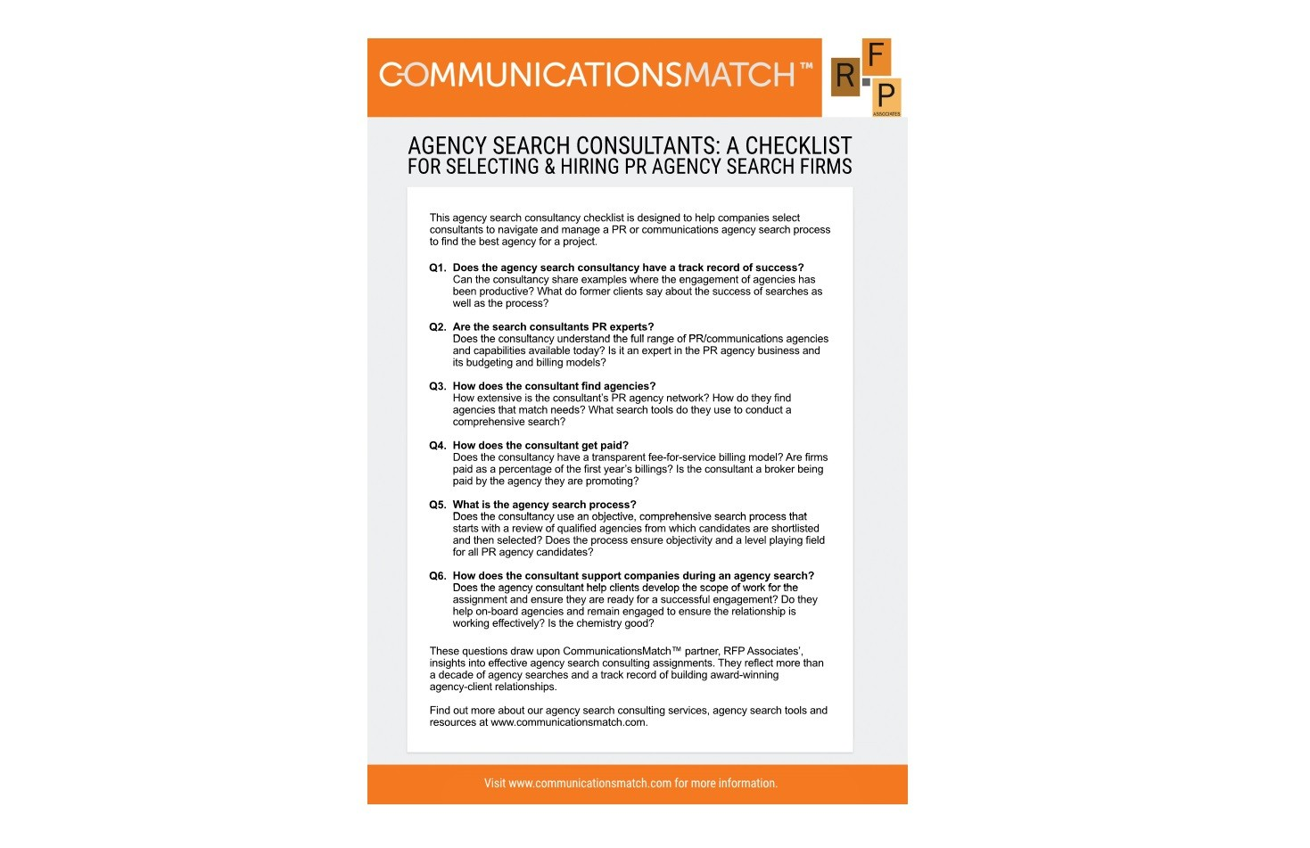 agency search consultant checklist