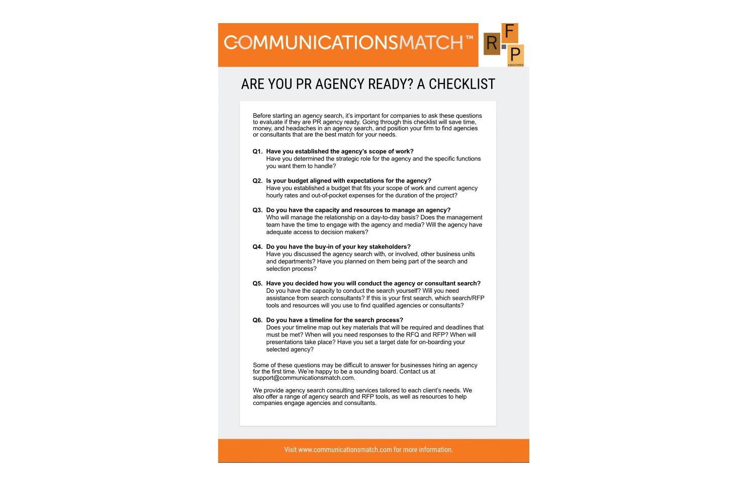 Are You PR Agency Ready? A Checklist | CommunicationsMatch